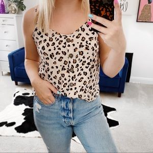 Button up cheetah leopard tank top
